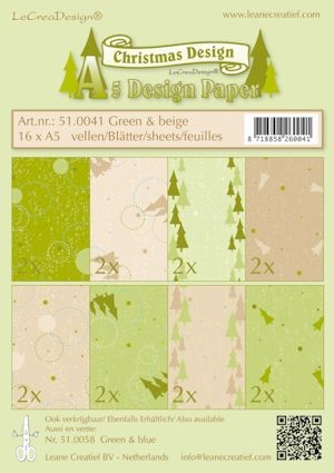 Design papier ass A5 Christmas groen-beige