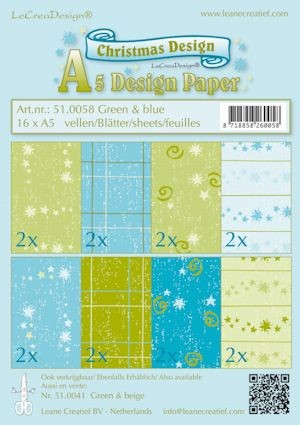Design papier ass A5 Christmas groen-blauw