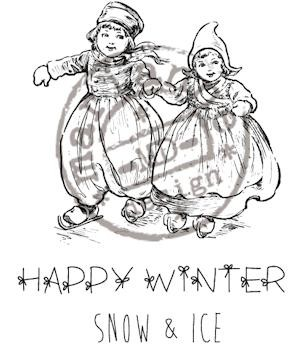cr0906 Cling stamp happy winter