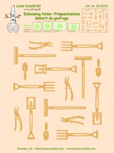 35.0218 Embossing folder Garden tools large 14.4x16cm