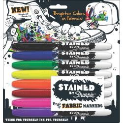 Stained By Sharpie Fabric Markers 8/Pkg