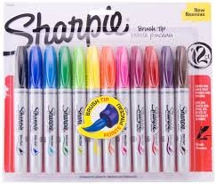 sharpie brush tip permanent 12 st