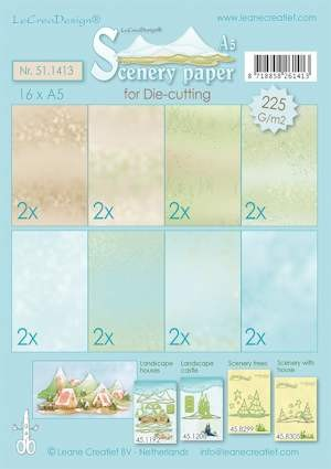 Scenery papier ass A5 blue-green-brown