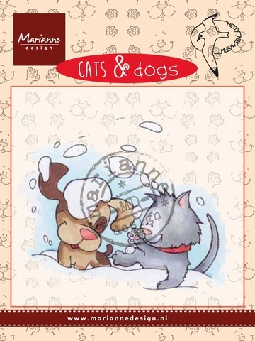 cd3501 Marianne D Clear stamp Cats & dogs - snow fun