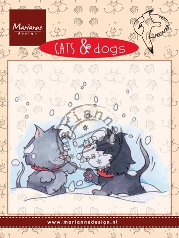 cd3502 Marianne D Clear stamp Cats & dogs - snow fight