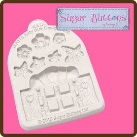Sugar Buttons - Enchanted Window and Flowers