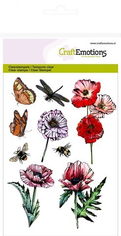 CraftEmotions clearstamps A6 - klaprozen, vlinders Poppy fields