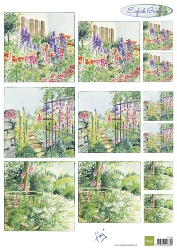 it591 Marianne D 3D Knipvellen Tiny`s English garden - Foxgloves A4