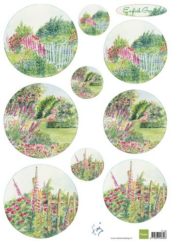 it592 Marianne D 3D Knipvellen Tiny`s English garden - Roses  A4