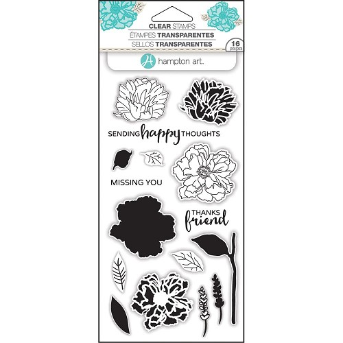 "Hampton Art Layering Clear Stamps 4""X8"" Flower happy"