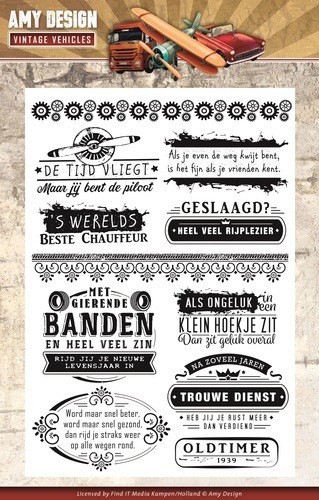Clearstamp - Amy Design - Vintage Vehicles - Tekst