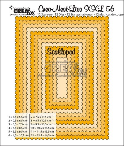 Crealies Crea-nest-dies XXL no. 56 scalloped rectangles max. 12,5x16,5