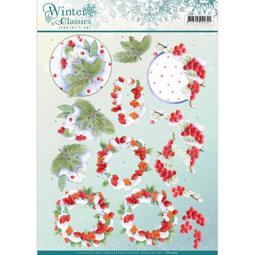 3D Knipvel - Jeanine`s Art - winter classics- Winterberries