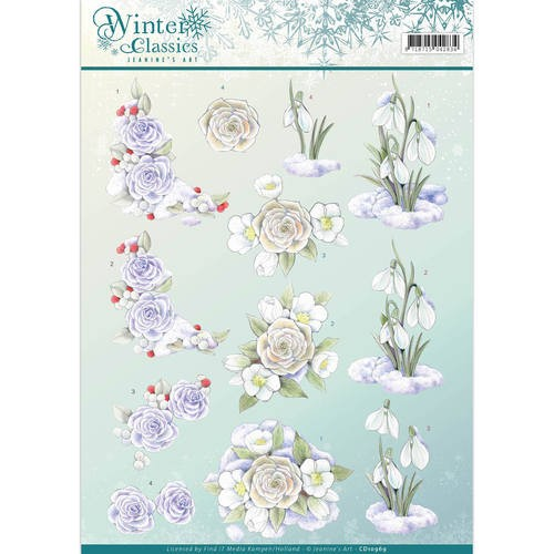 3D Knipvel - Jeanine`s Art - winter classics- Snow flowers