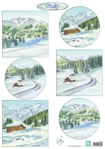 it599 Marianne D 3D Knipvellen Tiny`s winter landschapjes 1