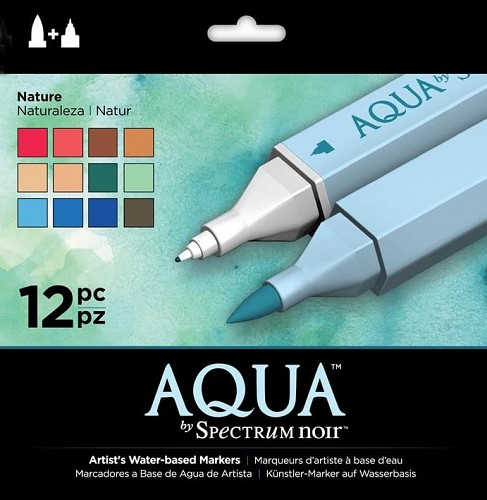 Spectrum Noir Aqua Markers 12 in een pak - Nature