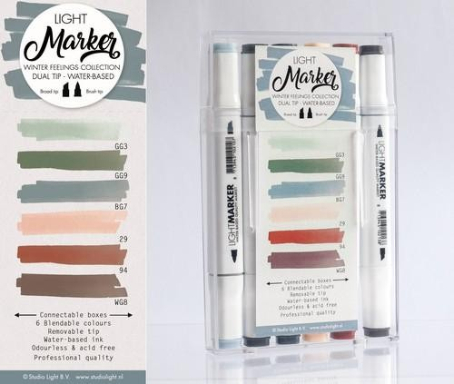 Studio Light Box 6 water based dual tip markers winter feelings