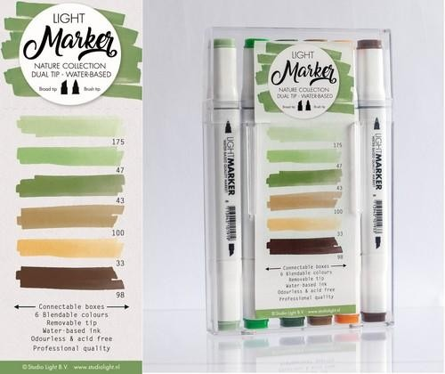 Studio Light Box 6 water based dual tip markers nature