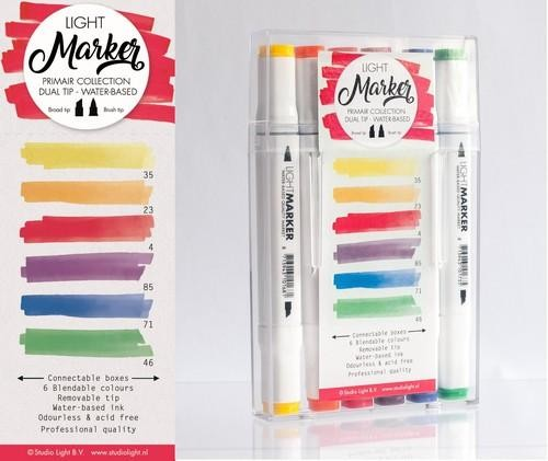 Studio Light Box 6 water based dual tip markers primair