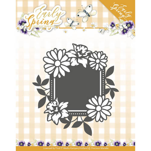 Dies - Precious Marieke - Early Spring - Spring Flowers Square label