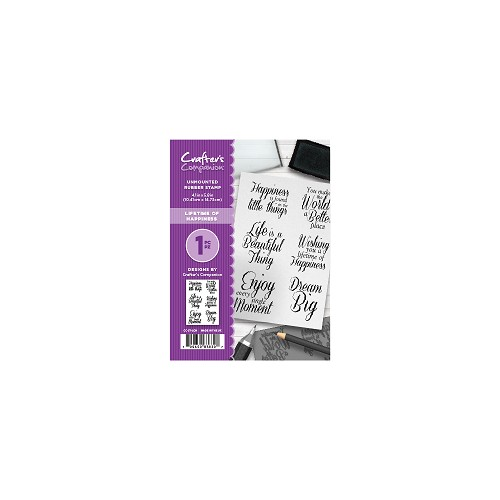 Crafter`s Companion A6 unmounted rubberen stempel - Lifetime of Happiness