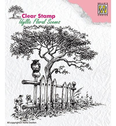 IFS008 - Clear Stamps idyllic floral scene Tree with fence