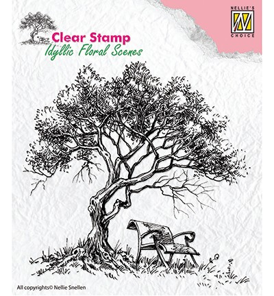 IFS007 - Clear Stamps idyllic floral scene Tree with bench