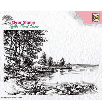 IFS006 - Clear Stamps idyllic floral scene Waters edge