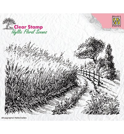 IFS005 - Clear Stamps idyllic floral scene Cornfield and country road