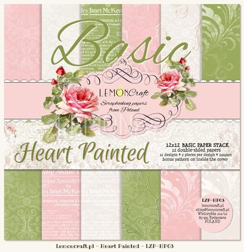 "Paper Collection Set 12""*12"" - Basic - Heart Painted"