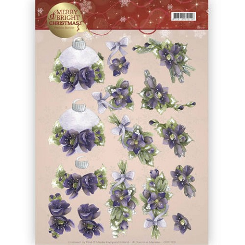 3D knipvel - Precious Marieke - Merry and Bright -Bouquets in purple