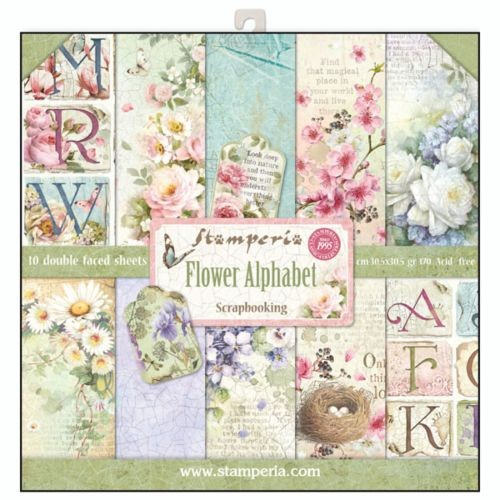 Stamperia Flower Alphabet 12x12 Inch Paper Pack