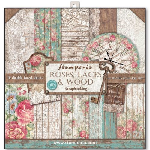 Stamperia Roses & Laces 12x12 Inch Paper Pack