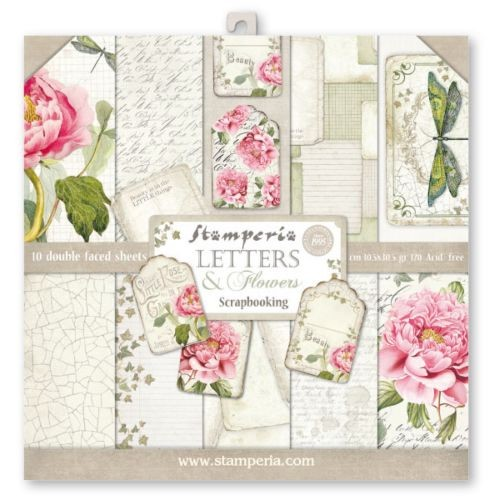 Stamperia Letters & Flowers 12x12 Inch Paper Pack