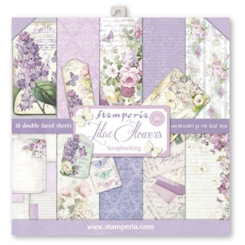 STAMPERIA LILAC FLOWERS 12 X 12 IN. SCRAPBOOKING PAPER PACK