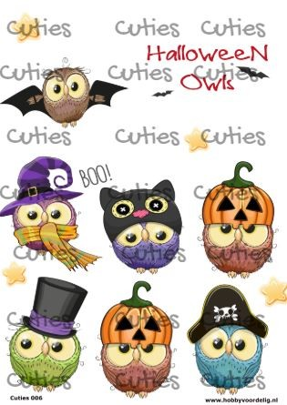 Cuties knipvel Halloween Owls