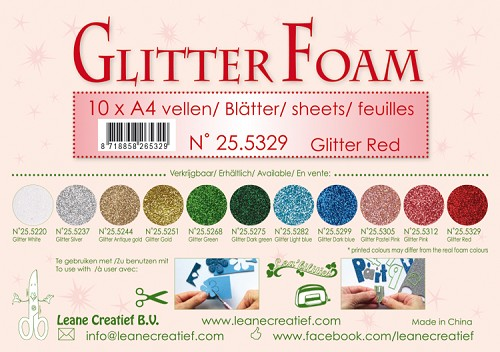 Glitter foam sheets A4 Glitter Red