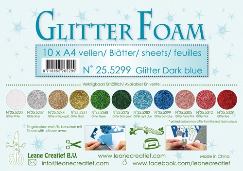 Glitter foam sheets A4 Glitter Dark Blue