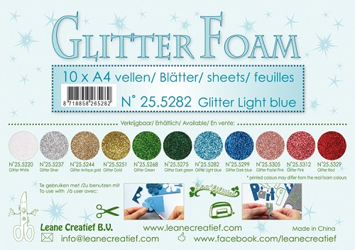 Glitter foam sheets A4 Glitter Light Blue