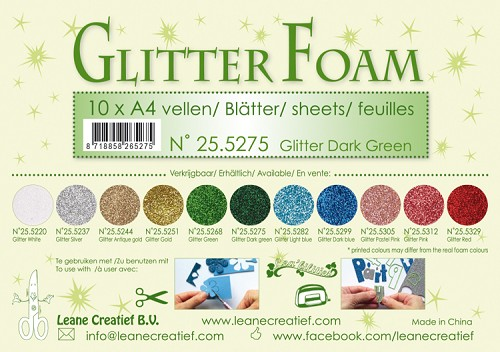 Glitter foam sheets A4 Glitter Dark Green