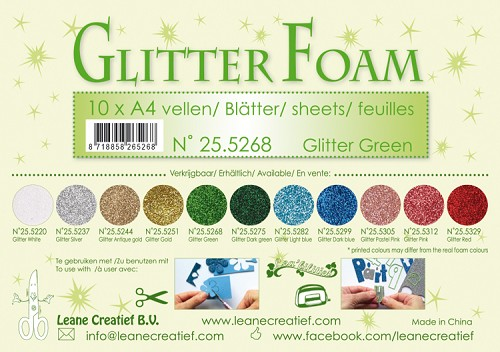 Glitter foam sheets A4 Glitter Green