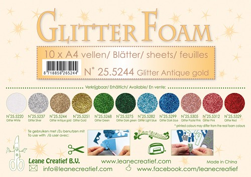Glitter foam sheets A4 Glitter Antique Gold