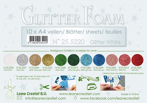Glitter foam sheets A4, Glitter White