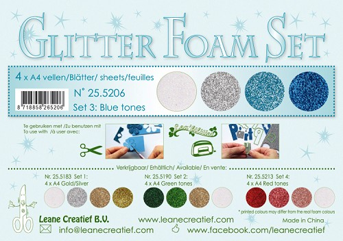Glitter Foam Set 3, 4 different glitter foam sheets A4 blue / white /silver colours.