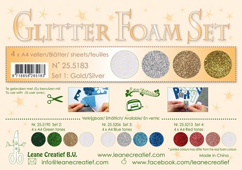 Glitter Foam Set 1, 4 different glitter foam sheets A4 gold /silver colours.
