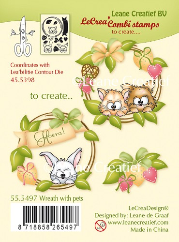 LeCreaDesign® combi clear stamp Wreath with pets