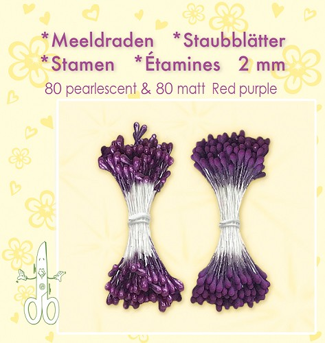 Meeldraden-Stamen-Staubblätter-Étamines 2mm, ±80 matt & 80 pearl Red Purple