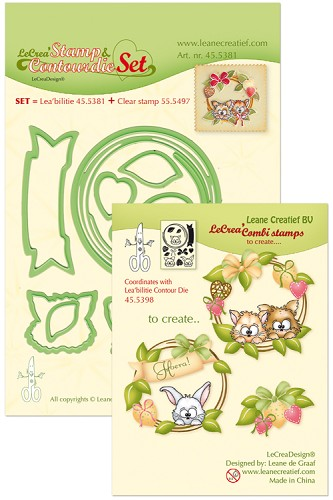 Leabilitie® Set met Contour snijmal en clear stamp Wreath with pets