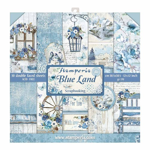 Stamperia Blue Land 12x12 Inch Paper Pack