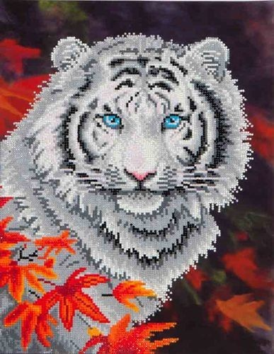 Diamond Dotz - 45,7x35,5cm - White Tiger in Autumn